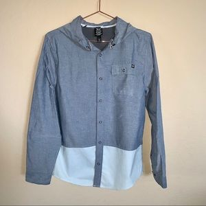 Shaun White boy's snap front shirt with hood XL